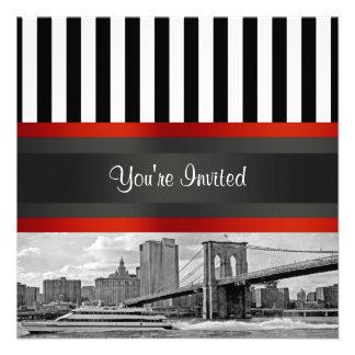Puente de Brooklyn del horizonte de NYC invitació