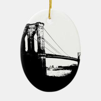 Puente de Brooklyn del vintage Adorno Navideño Ovalado De Cerámica