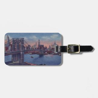 Puente de Brooklyn del vintage Etiquetas Bolsa