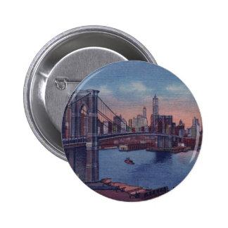Puente de Brooklyn del vintage Pin Redondo De 2 Pulgadas