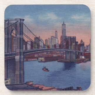 Puente de Brooklyn del vintage Posavasos