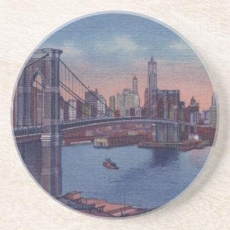 Puente de Brooklyn del vintage Posavasos Personalizados