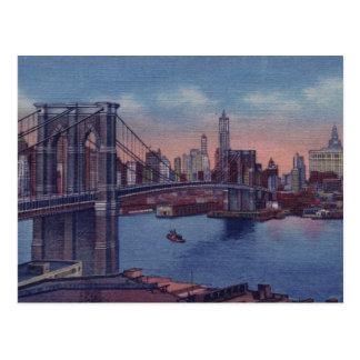 Puente de Brooklyn del vintage Tarjeta Postal