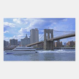 Puente de Brooklyn, edificio municipal Pegatina Rectangular