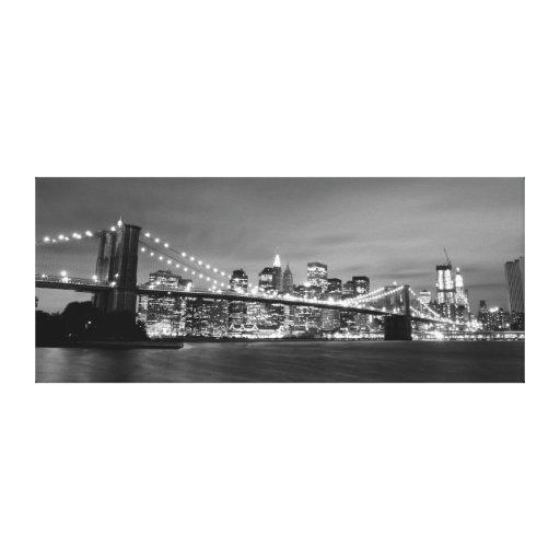 Puente de Brooklyn en la noche, New York City Impresiones En Lona