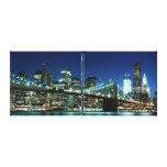 Puente de Brooklyn en la noche, New York City Lona Envuelta Para Galerias