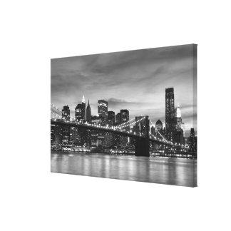 Puente de Brooklyn en la noche, New York City Impresión De Lienzo