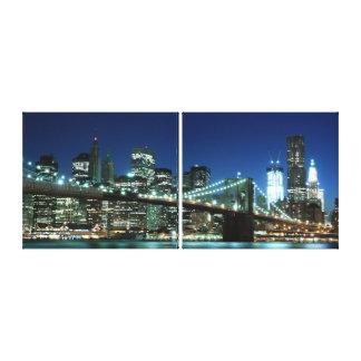 Puente de Brooklyn en la noche, New York City Lona Estirada Galerías