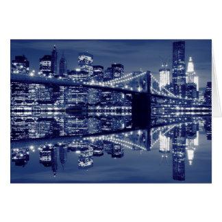 Puente de Brooklyn en la noche, New York City Felicitación