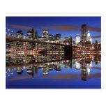 Puente de Brooklyn en la noche, New York City Tarjeta Postal