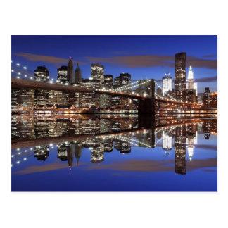 Puente de Brooklyn en la noche, New York City Postal