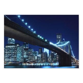 Puente de Brooklyn en la noche, Nueva York Invitación 12,7 X 17,8 Cm
