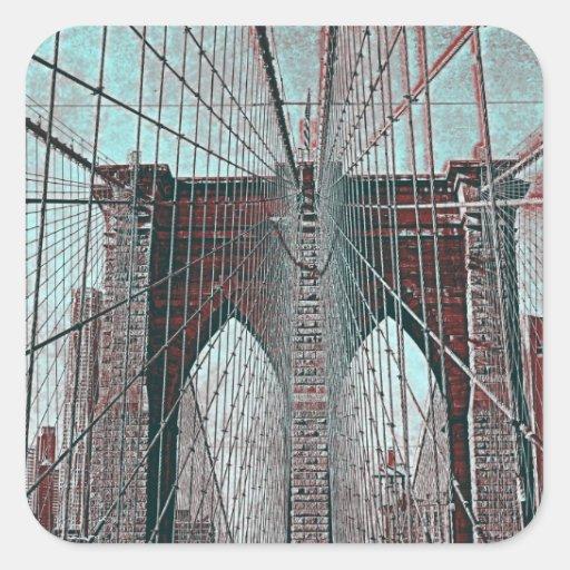 Puente de Brooklyn en NYC Pegatina Cuadrada