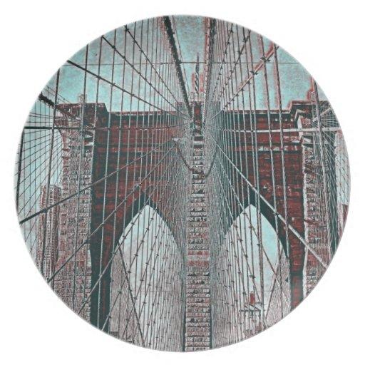 Puente de Brooklyn en NYC Plato Para Fiesta