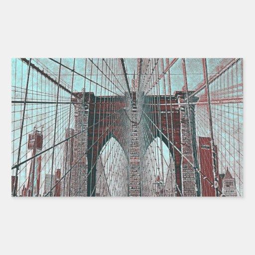 Puente de Brooklyn en NYC Rectangular Pegatinas
