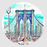 Puente de Brooklyn Etiqueta Redonda