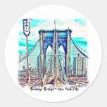 Puente de Brooklyn Etiquetas Redondas