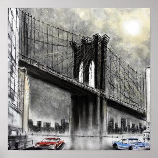 Puente de Brooklyn, impresión de los E.E.U.U. Póster