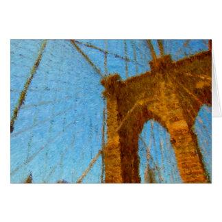 Puente de Brooklyn impresionista Tarjeta De Felicitación