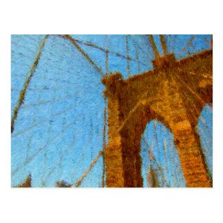 Puente de Brooklyn impresionista Tarjeta Postal