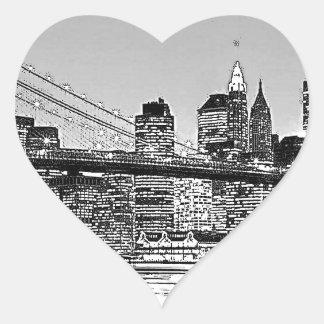 Puente de Brooklyn New York City Pegatina En Forma De Corazón
