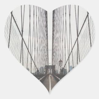 Puente de Brooklyn, Nueva York Pegatina En Forma De Corazón