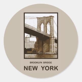 Puente de Brooklyn Nueva York Pegatina Redonda