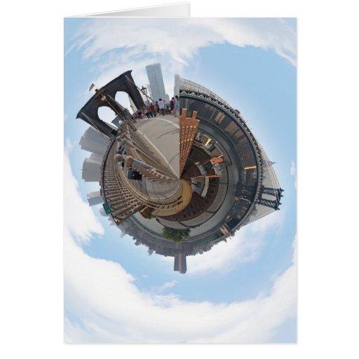 Puente de Brooklyn NYC panorama de 360 grados Tarjeta Pequeña