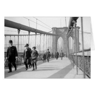 Puente de Brooklyn Pedestrians, 1909 Tarjeta De Felicitación