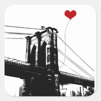 Puente de Brooklyn Pegatina Cuadrada