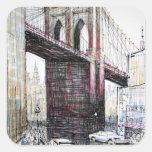 Puente de Brooklyn, pegatinas de los E.E.U.U. Pegatina Cuadradas Personalizadas