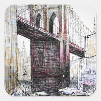 Puente de Brooklyn, pegatinas de los E.E.U.U. Pegatina Cuadrada