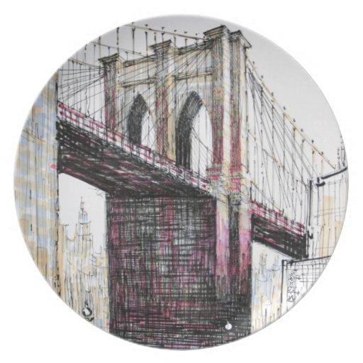 Puente de Brooklyn, placa de los E.E.U.U. Platos Para Fiestas
