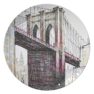 Puente de Brooklyn, placa de los E.E.U.U. Plato Para Fiesta