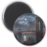 Puente de Brooklyn por claro de luna Imán Para Frigorifico