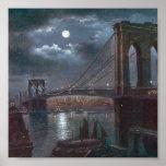 Puente de Brooklyn por claro de luna Impresiones