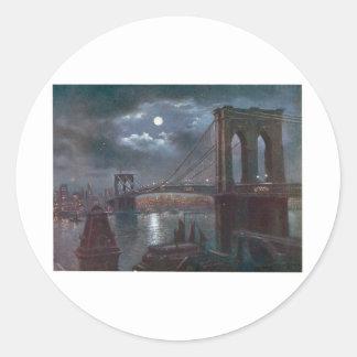 Puente de Brooklyn por claro de luna Pegatinas Redondas