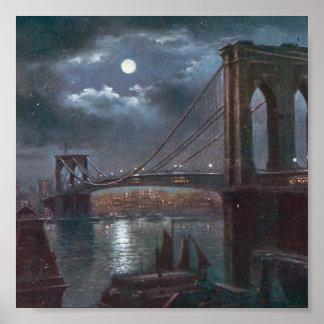 Puente de Brooklyn por claro de luna Póster