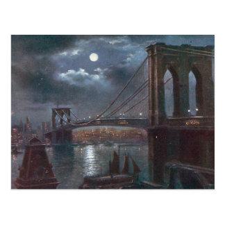 Puente de Brooklyn por claro de luna Tarjetas Postales