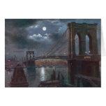 Puente de Brooklyn por claro de luna Tarjetón