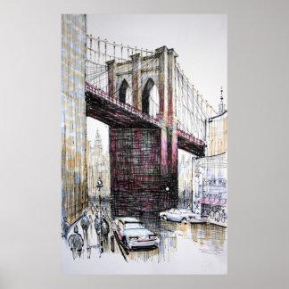 Puente de Brooklyn, poster de Nueva York/impresión