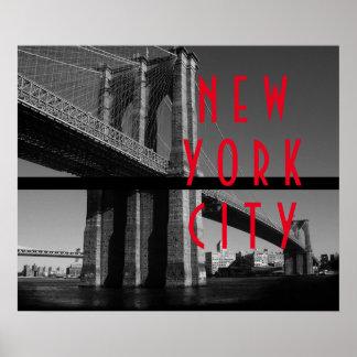 Puente de Brooklyn rojo blanco negro New York City Póster