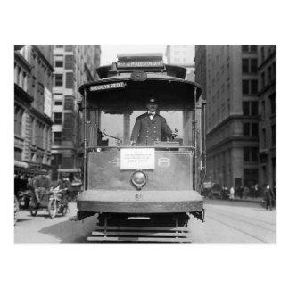 Puente de Brooklyn Trolley, 1915 Postal