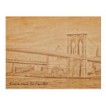 puente de Brooklyn viejo de la postal