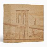 "Puente de Brooklyn viejo de la postal 1,5"" álbum d Carpeta 1 1/2"""