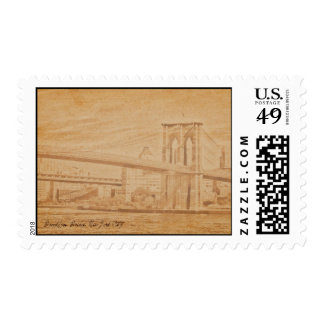 puente de Brooklyn viejo de la postal Envio