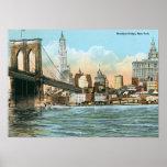 Puente de Brooklyn, vintage de Nueva York Poster