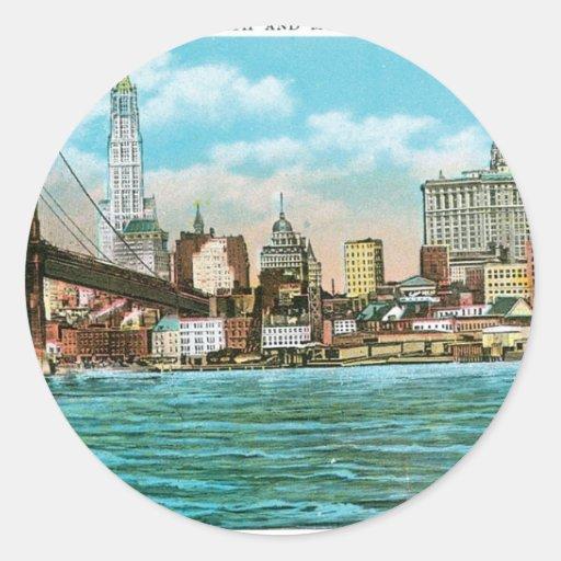 Puente de Brooklyn, Woolworth y Municipal… Pegatina Redonda