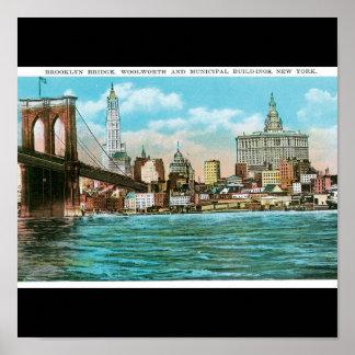 Puente de Brooklyn Woolworth y Municipal… Poster