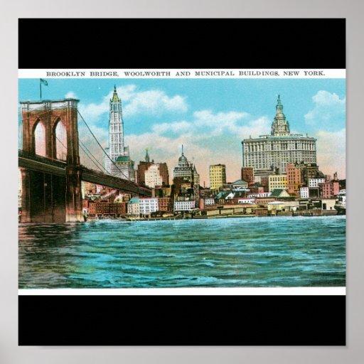 Puente de Brooklyn, Woolworth y Municipal… Poster